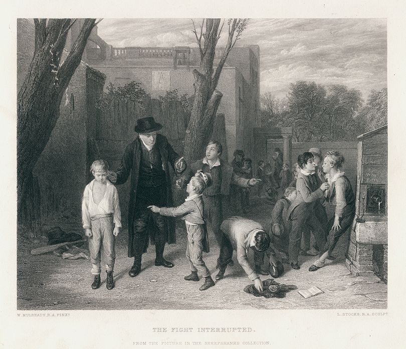 """The Fight Interrupted"" (boys fighting outside school) engraved by Lumb Stocks after a picture by W.Mulready, published in The Art Journal, 1875. Steel engraved antique print."