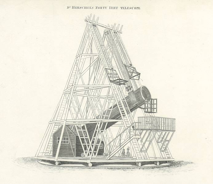 """Dr. Herschel's Forty Feet Telescope"" anonymous engraver, published in A Complete and Universal Dictionary, 1812. Copper engraved print. Size 20 x 18.5 cms including title, plus margins. Ref F4507"